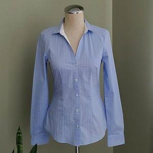 H&M Blue Pinstripe Button Down Shirt 4